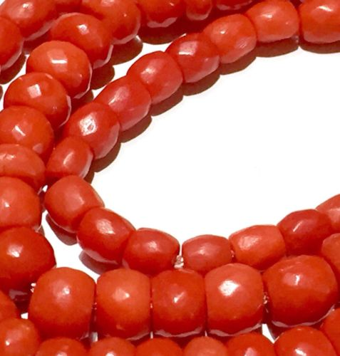No dye Antique RED faceted natural coral barrel beads necklace ??