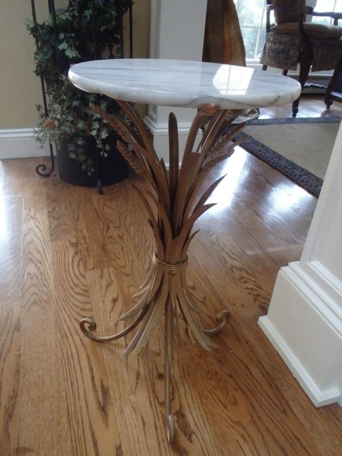Vintage Hollywood Regency  Italian Tole Wheat Sheaf Side Table~ Base Only
