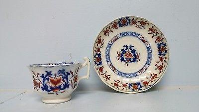 Antique Staffordshire Gaudy Ironstone Tea Cup & Saucer Set Welsh Dutch Victorian