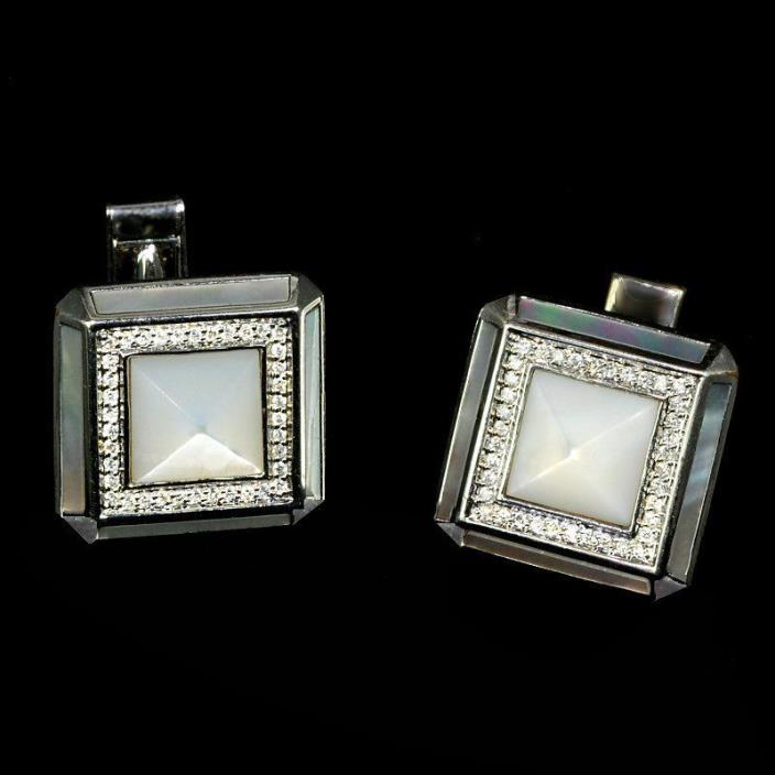 Deluxe 14k gold, 78 diamond mother of pearl very dressy estate cufflinks M-F