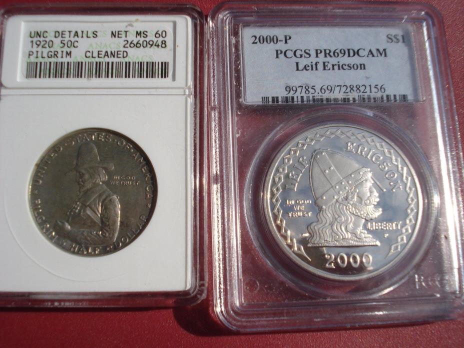 TWO COINS :1920 PILGRIM Half Dollar  NET MS 60 ANACS +2000-P PCGS  PR69 DEEP CAM