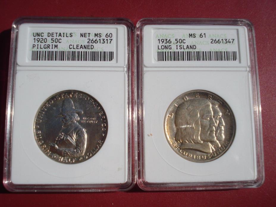 1936 Long Island Half Dollar Commemorative MS61 1920 Pilgrim Comm. UNC Details