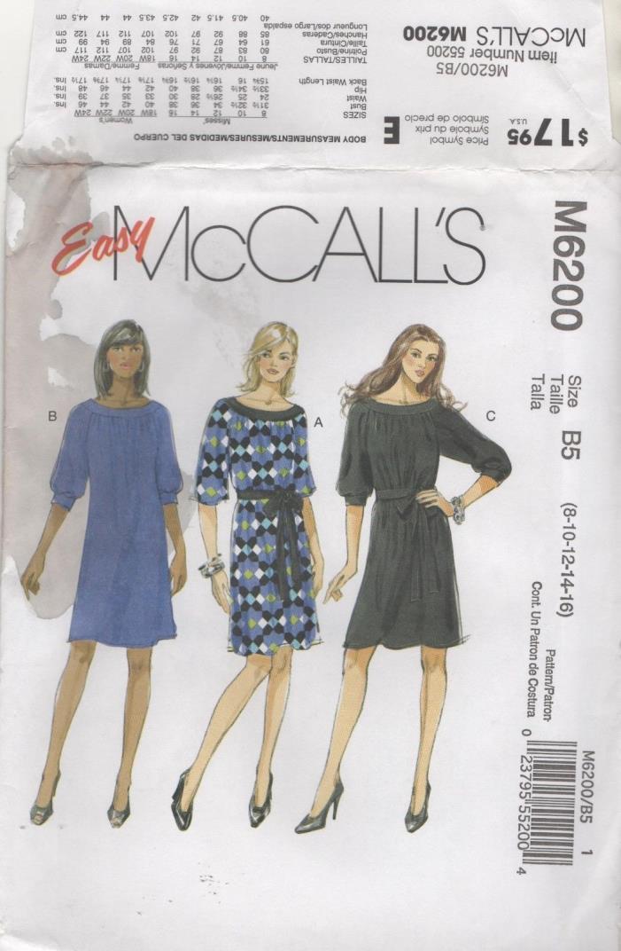 M6200 McCalls Misses Womens Dress Belt Sizes 8 10 12 14 16  Uncut sewing Pattern