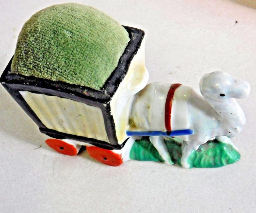 Vintage porcelain Lusterware pin cushion  - Camel pulling a Cart sewing novelty