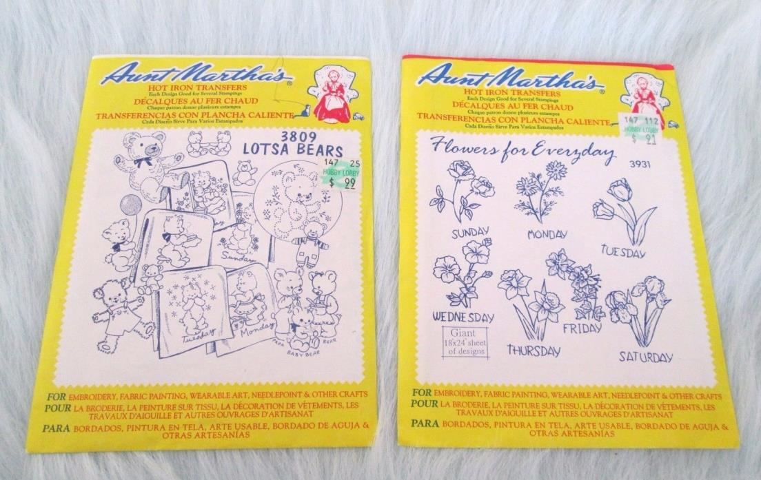 NEW Vintage AUNT MARTHA`S HOT IRON TRANSFERS Set 2