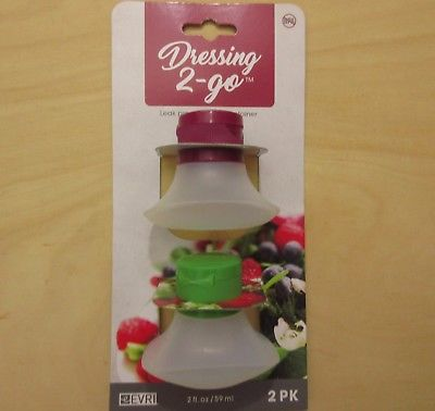 Dressing 2 to Go Silicone Squeezable Portable Salad Dressing Container New #z