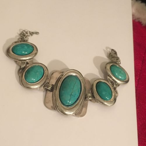 Southwest Turquoise Howlite Silver Plate Bracelet Signed Marie #Z2