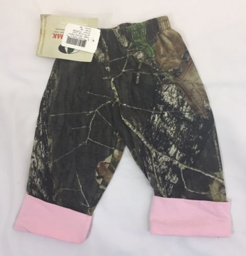 NWT MOSSY OAK CAMOUFLAGE PANTS PINK CUFF BABY GIRLS 6 MONTHS CAMO