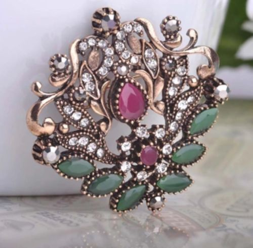 Vintage Broosh Red Water Drop Stones Zinc Alloy Hair/Dress/Hat/Scarf Accessory