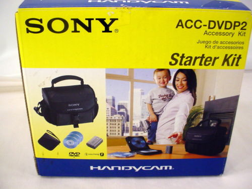 New SONY ACC-DVDP2 Accessory Start Kit Handycam Soft Case Battery 3 DVD + Holder