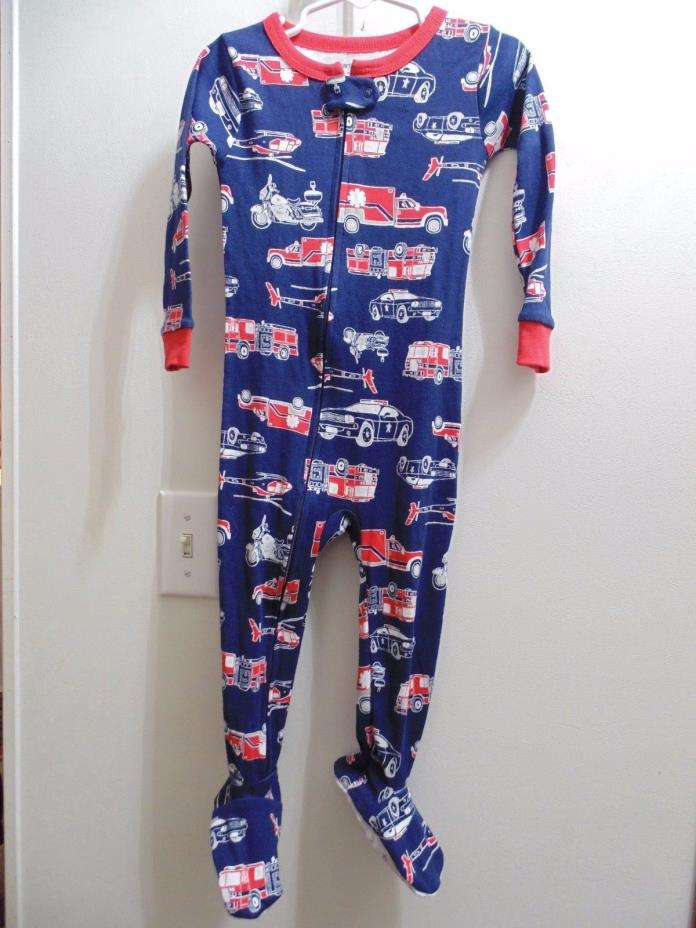 Carter's 2T one piece Pajama with feet 100% Cotton Emergency Vehicles.