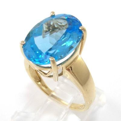 Solid 10K Yellow Gold Blue Topaz Oval Cocktail Ring Size 7.5
