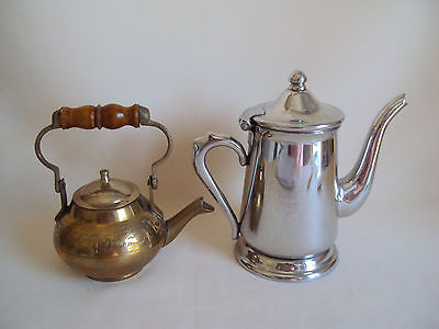 VINTAGE COPPER AND 18-8 STAINLESS STEEL SMALL CREAMERS PITCHER TEAPOT SET