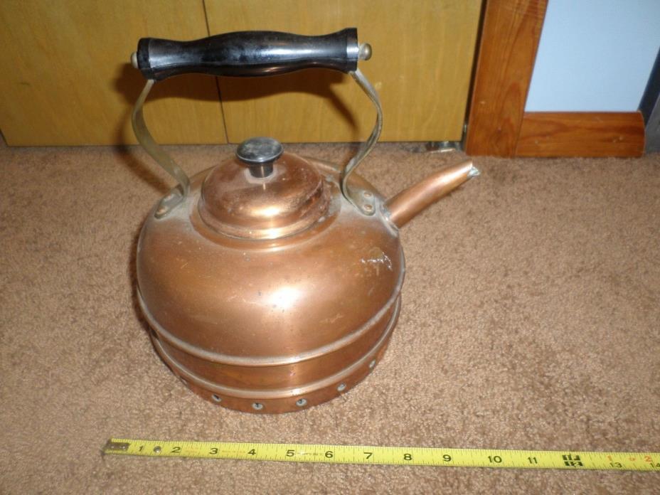 Rare Vintage Short Spout Copper Teapot Kettle Cosiclad England Coil Rim Old