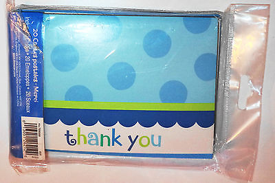 Big 20 Pack Amscan Thank You Postcards, Envelopes & Seals Blue / Green