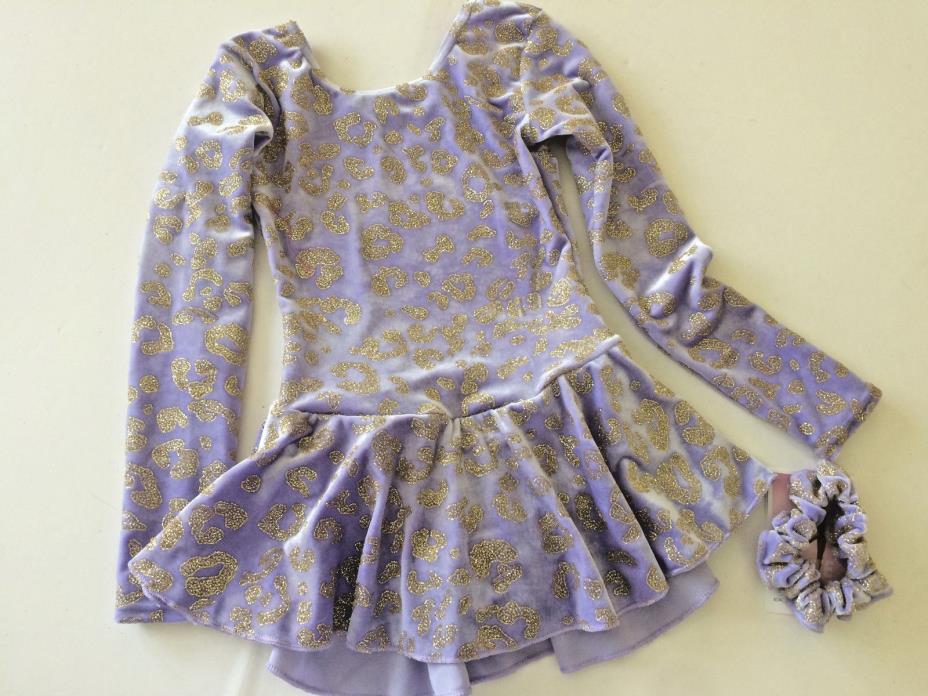 Girl 6X-7 runs small Mondor Ice Figure Skating Dress Lavender Velvet Sparkle NWT