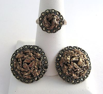 Antique Victorian 800 900 Silver Rose Gold Rosette Marcasite Ring Earrings Set