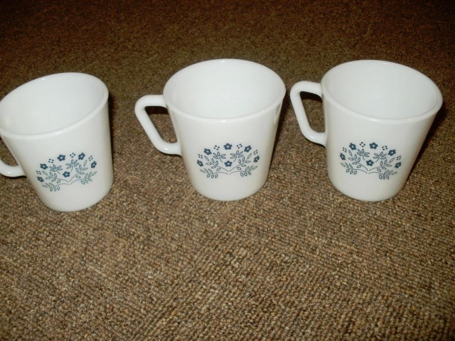 PYREX VINTAGE Mug Cups Summer Impressions Blue Flower 1410 White Milk Glass