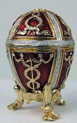 Russian Faberge Red Replica with Royal Decor in golden trims  E06-26-05