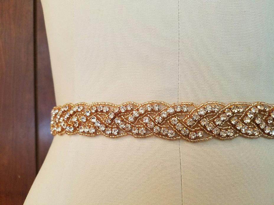 Wedding Bridal Sash Belt, ROSE GOLD CLEAR RHINESTONE Wedding Dress Sash Belt