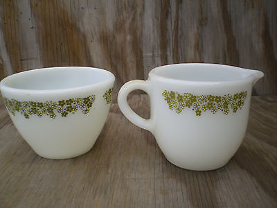 Pyrex Corelle Spring Blossom Milk Glass Small Sugar Bowl & Lipped Creamer Cup