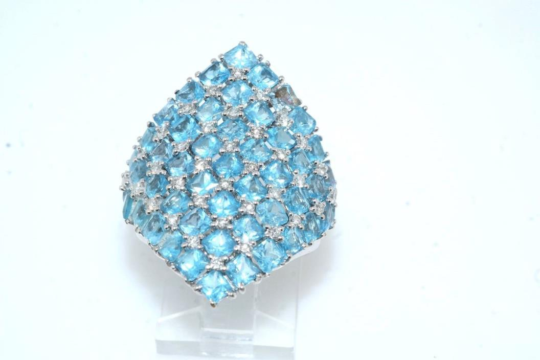 Estate Diamond & Blue Topaz 18k White Gold Ring