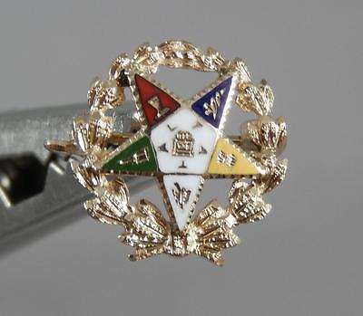 Estate 14 Karat Yellow Gold Vintage Eastern Star Masonic Lapel Pin 14K J0182
