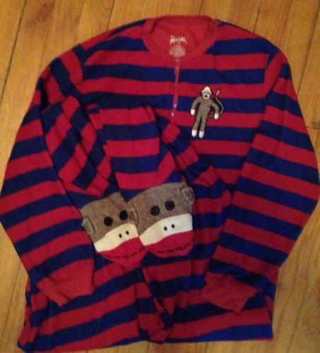 Nick and Nora Footie Pajamas Sock Monkey Footie One Piece Bodysuit PJ adult S