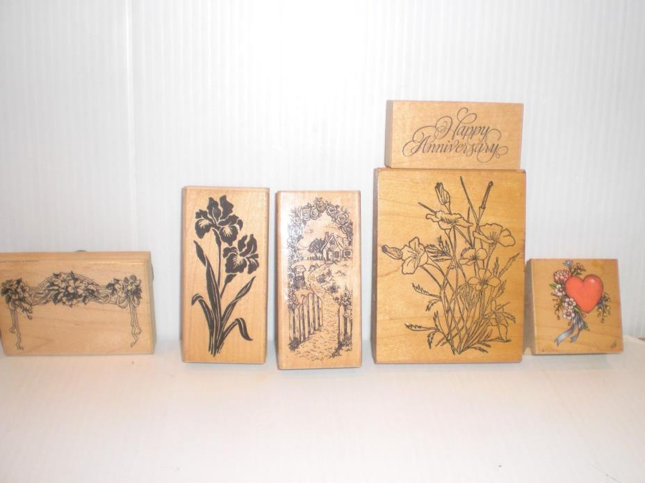 Vtg Lot Of 6 Wooden Rubber Stamps Rubber Stampendous love hearts flowers wedding