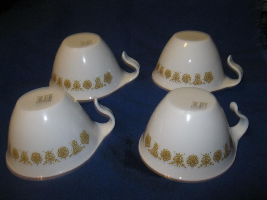Corelle Corning Butterfly Gold FOUR Cups Mugs Hook Handle