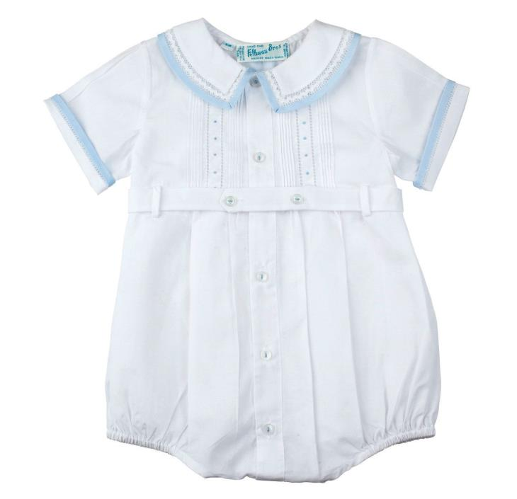 Feltman Brothers Infant Boys White & Blue Belted Romper NWT