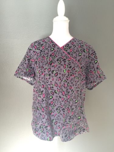 Scrubstar Womens Top 2X Gray Black Pink Green Patterned Vneck Style SS44B787