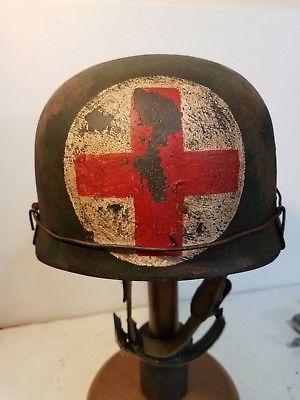WWII German M38 Fallschirmjager Medic Paratrooper Helmet