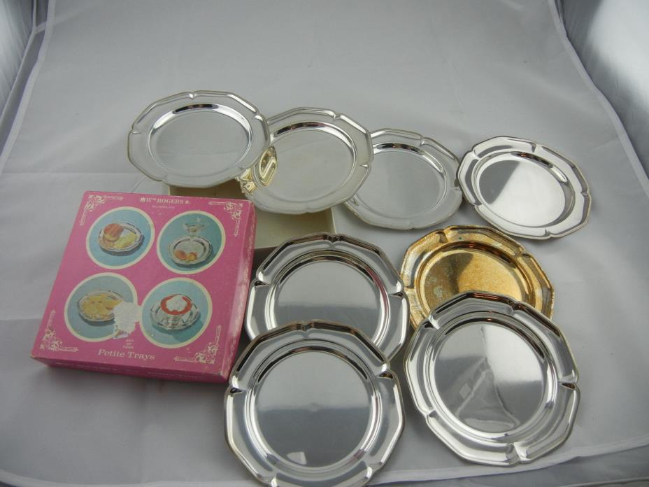 WM ROGERS SET OF 8 SILVERPLATE PETITE TRAYS - NEW IN BOX