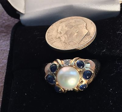 Pearl and Sapphire Dome Ring. 14KT YG, Size 7
