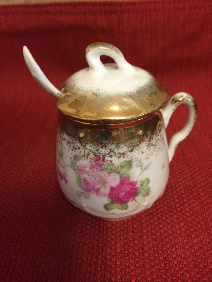 German Antique/Vintage (circa 1890) Porcelain Mustard Pot with Lid and Spoon