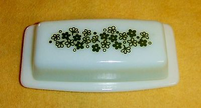1081~Vintage Pyrex Spring Blossom/Crazy Daisy White Green Covered Butter Dish**