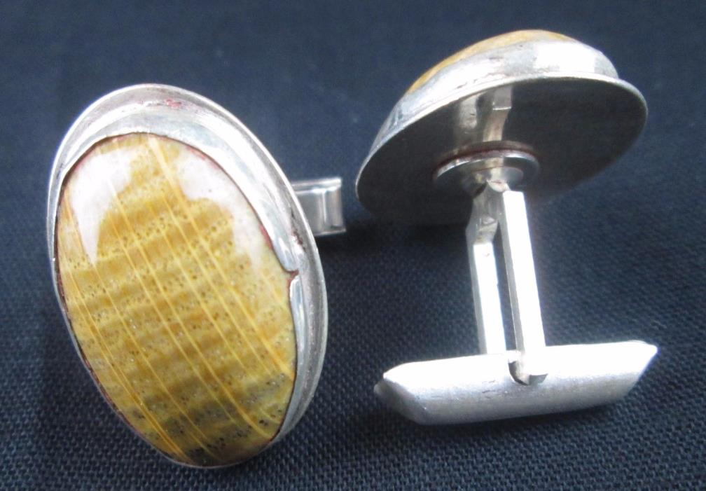 Vintage 1940's Jacob M. Oldak Sterling Silver Brown Jasper Cufflinks Made in USA