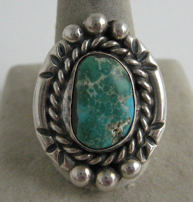 VINTAGE BLUE GREEN TURQUOISE FREEFORM NUGGET STERLING RING SOUTHWEST