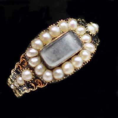 Antique Georgian Memorial Ring 14K Gold Black Enamel Enamel Pearls 1819 (#6220)