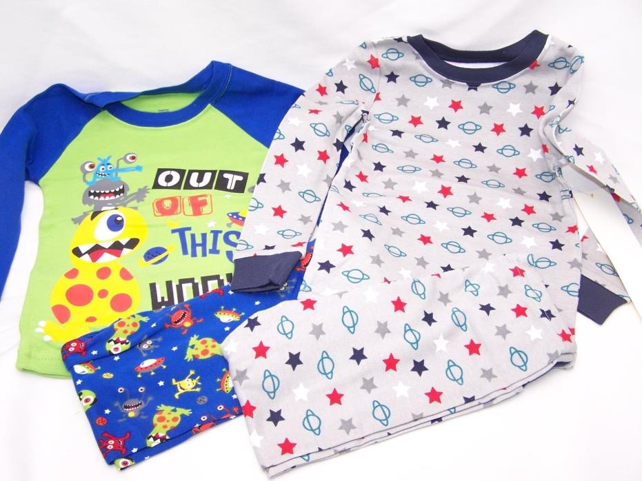 SPACE 4 PC Toddler Boys Cotton Tight Fit Shirt Pants Pajama Set 3T  PJ 2 Pair