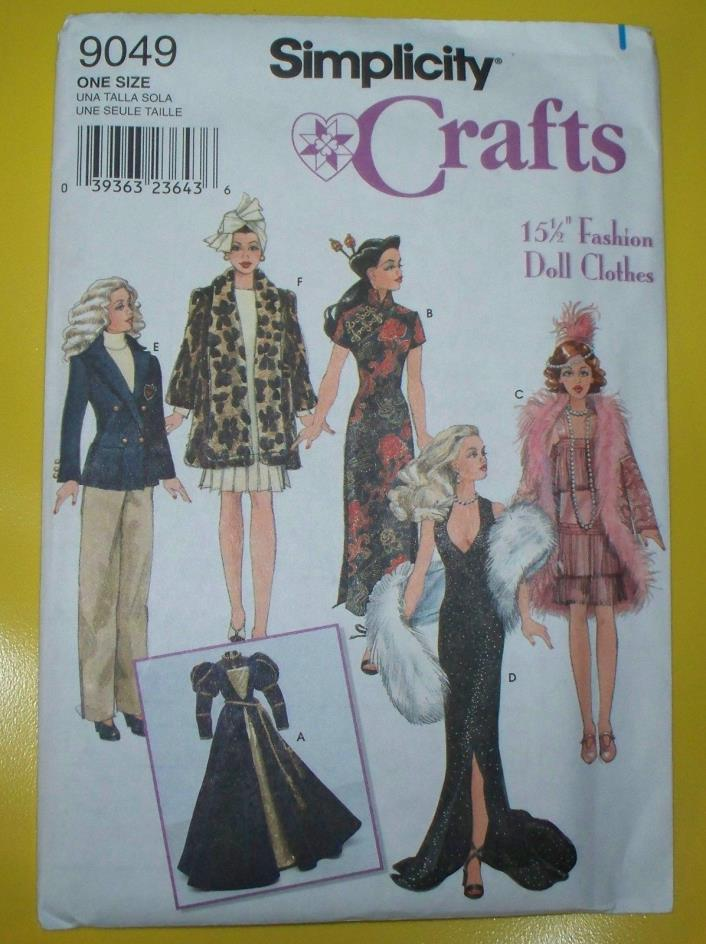 """Simplicity 9049 15.5"""" Gene size Doll clothes pattern Costume wardrobe uncut OOP"""