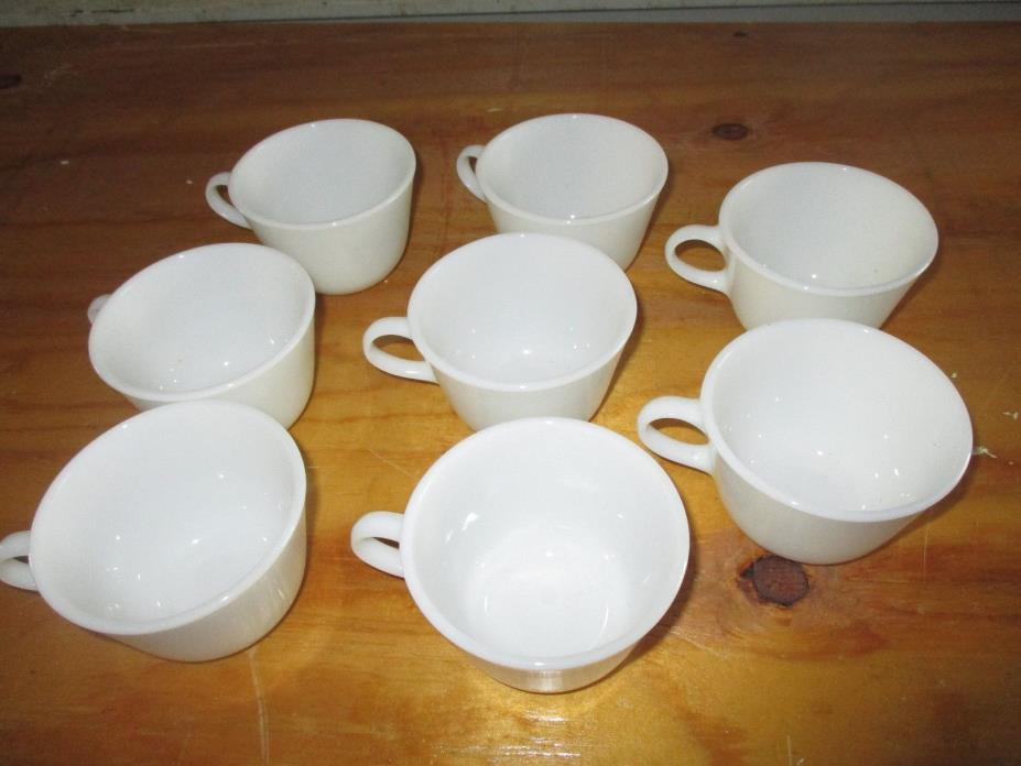 VINTAGE PYREX COFFEE CUP WHITE GLASS LOT OF 8