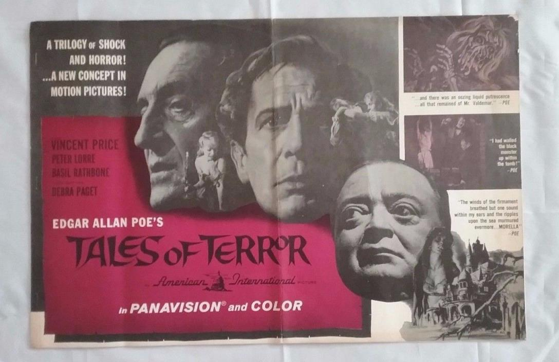 1962 TALES OF TERROR Large Press Book Kit VINCENT PRICE Horror RARE 14 pgs