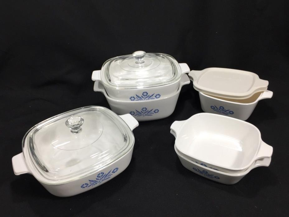 9 pc Set of 6 CORNING WARE Cornflower Blue Smaller Casserole Dish & 3 lids
