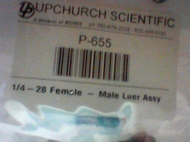 3 New Upchurch Scientific, P-655, 1/4-28 Female-Male Luer Assy
