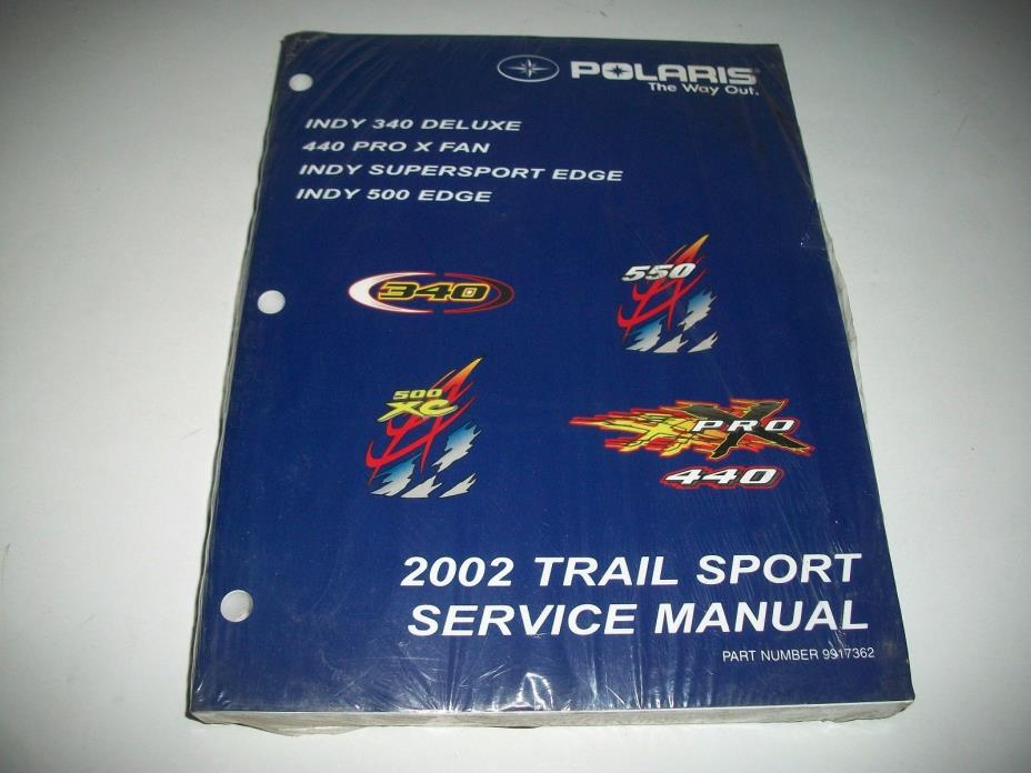 NEW 2002 POLARIS TRAIL SPORT SERVICE MANUAL INDY  340 DELUXE 440 PRO X INDY