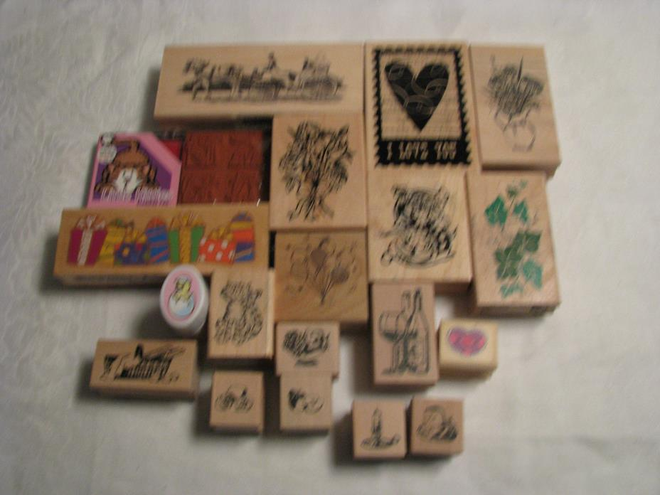 19 Pre-Owned Rubber Ink Stamps For Crafts/Embossing/Stamping
