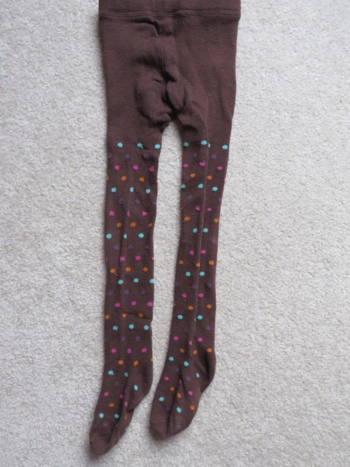 Cherokee Toddler Girls Brown Winter Tights with Polka Dots Size 4-6 VGUC
