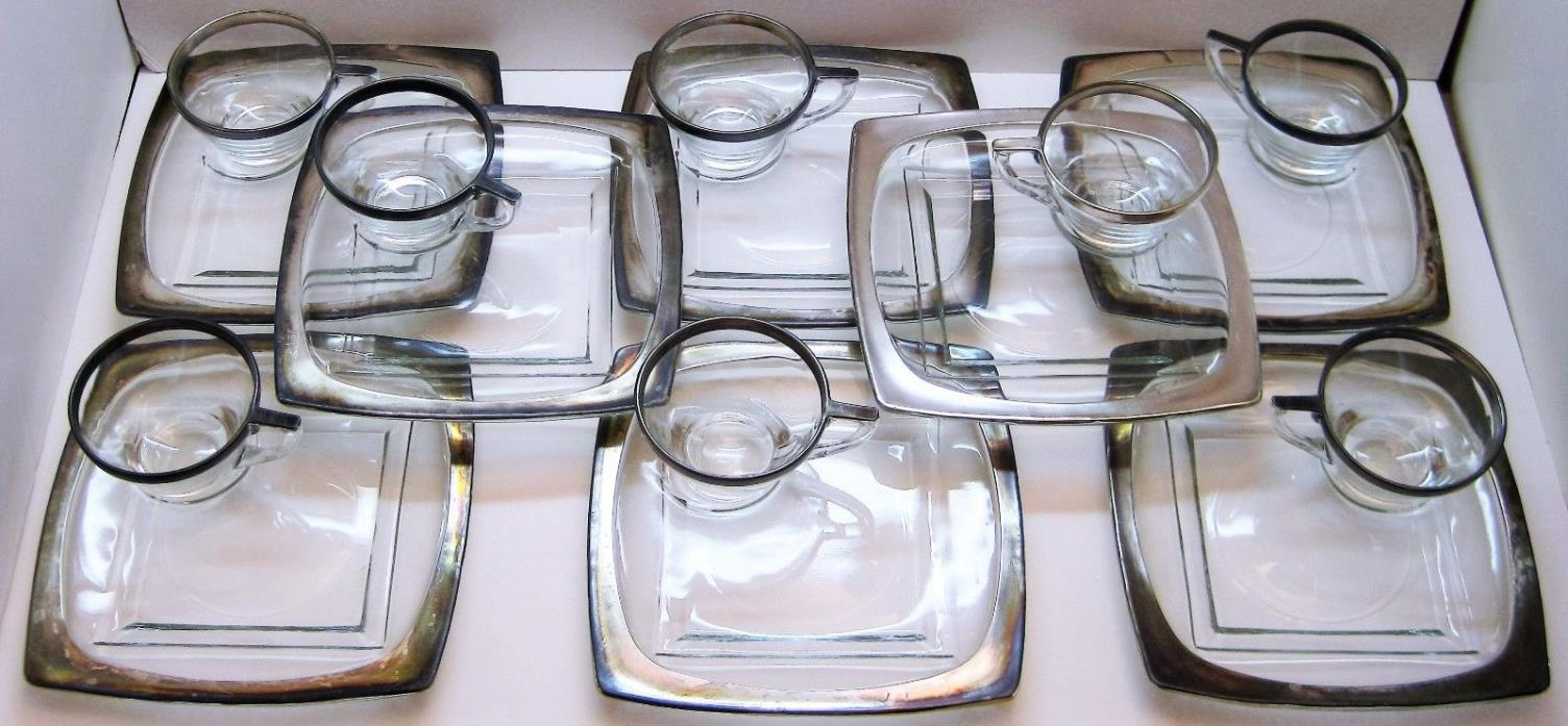 8 Vintage Dorothy Thorpe Silver Band Crystal Glass Square Snack Plate & Cup Sets